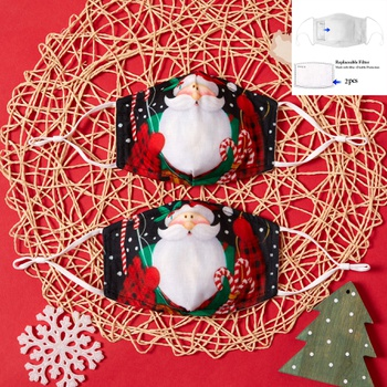 3-Layer Santa  Print Protective Anti Dust Breathable Family Mask (Include Two Replaceable Filters)