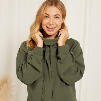 Maternity Pile collar Plain Army green Hoodie