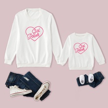 Girl Power Letter Print Family Matching White Sweatshirts