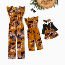 Floral Print Ruffle Decor Jumpsuits for Mommy-girl-baby