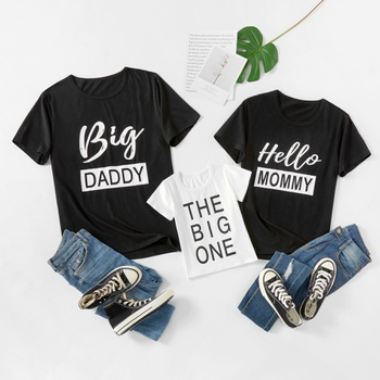 Letter Print Family Matching Short Sleeve T-shirts