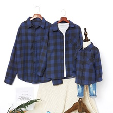 Family Matching 100% Cotton Blue Plaid Series Button Front Shirts