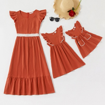 100% Cotton Flutter-sleeve Matching Coral Red Midi Dresses