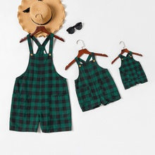 Mommy-girl-baby Plaid Cross Strap Rompers
