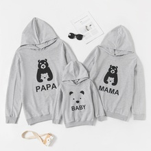 Animal Bear Print Family Matching Grey Hoodies Sweatshirts