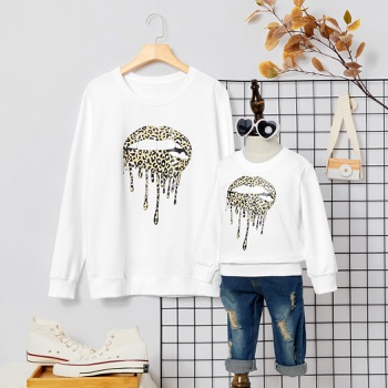 Mouth Leopard Print White Cotton Sweatshirts for Mom and Me
