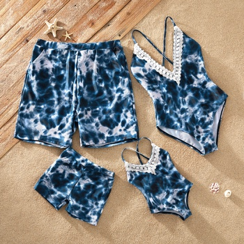 Tie-dye V-neck Lace Collar Strappy Matching Swimsuits