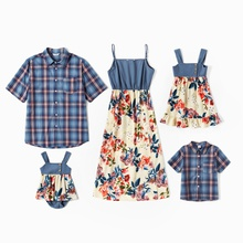 Mosaic Family Matching Denim Sets(Floral Tank Dresses - Plaid Short Sleeve Shirts - Rompers)