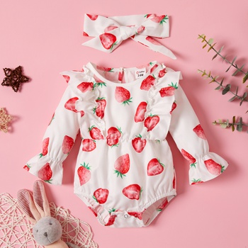 2-piece Strawberry Print Set for Baby
