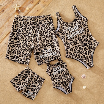 Cool Summer Leopard Print Family Matching Swimsuits