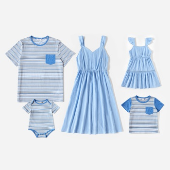 Mosaic Solid and Stripe Family Matching Blue Sets