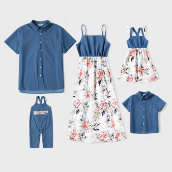 Mosaic Denim Stitching Floral Print Family Matching Sets