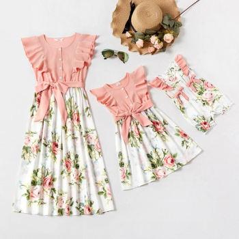 Flutter-sleeve Pink Stitching Floral Print Matching Midi Dresses