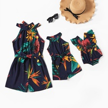 Dark Blue Floral Print Sleeveless Matching Shorts Rompers