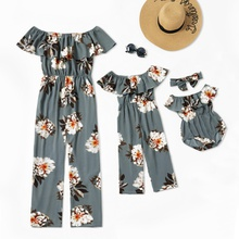 Floral Print Ruffle Off-shoulder Matching Jumpsuits