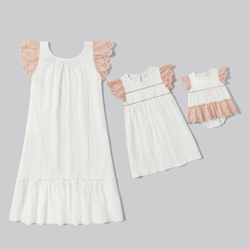 Mosaic Mommy and Me Lace Decor Solid Dresses