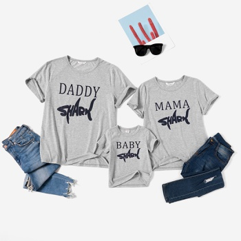 Shark Letter Print Family Matching Grey T-shirts