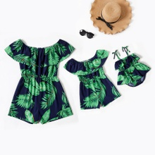 Leaves Print Ruffle Off-shoulder Matching Shorts Rompers