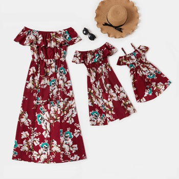 Mommy and Me Floral Print Flounce Off-shoulder Rompers
