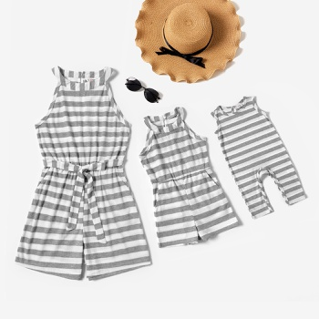 Grey and White Stripe Sleeveless Matching Shorts Rompers