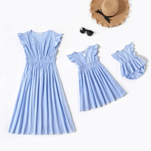 100% Cotton Flutter-sleeve Solid Color Matching Blue Midi Dresses