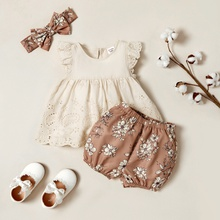 3pcs Baby Girl Sweet Floral Dress and Shorts Set with Headband