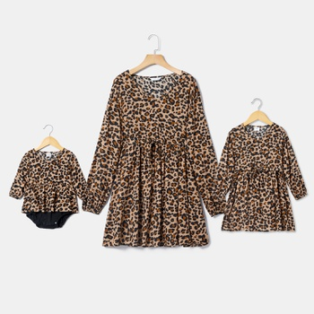 Mommy and Me Leopard Long-sleeve Dresses