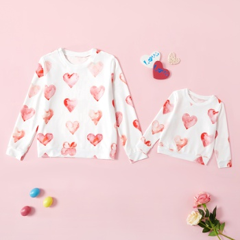 Valentine's Day Series Love Print Sweatshirts for Mom ande Me