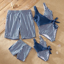Blue Stripe Print Family Matching Swimsuits