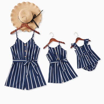 Striped Sling Rompers for Mommy-girl-baby