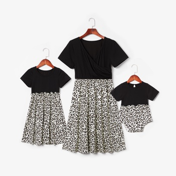 Mommy and Me Leopard Stitching Short-sleeve Dresses
