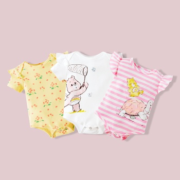 Care Bears Baby Girl 100% Cotton Flutter-sleeve Romper/One Piece