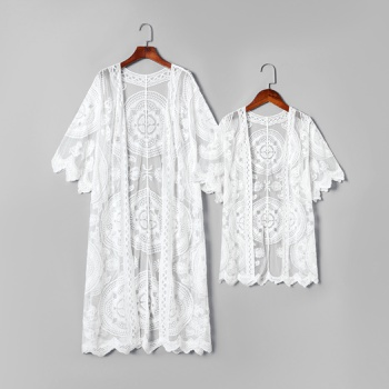 White Floral Wavy Cutting Sleeves Cover Ups for Mommy and Me