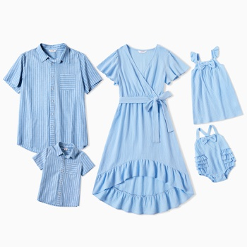 Mosaic Blue Series Sets(V-neck Dresses - Plaid Button Front Shirts -Rompers)