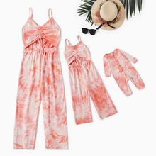 100% Cotton Tie Dye Sling Jumpsuits for Mommy and Me