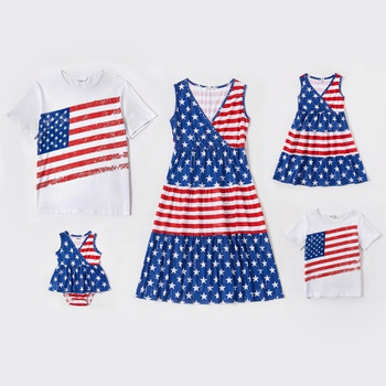 Mosaic Independence Day Stripe and Stars Stitching Family Matching Sets