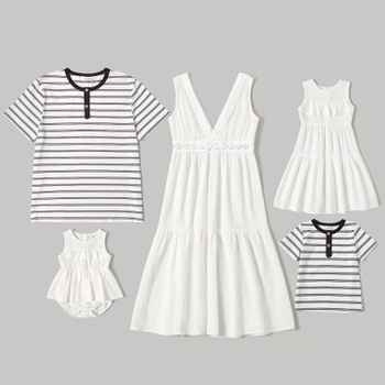 Mosaic Family Matching Cotton Sets( Flounce Decor Tank Solid Dresses - Stripe Tops - Rompers)