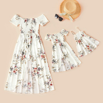 Floral Print White Matching Maxi Romper Dresses for Mommy and Me
