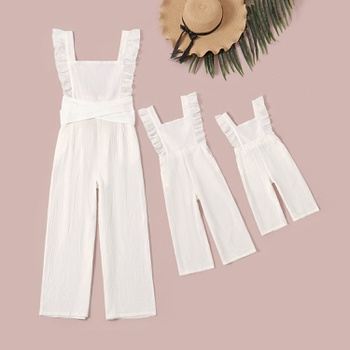 100% Cotton Flounce Decor Jumpsuits for Mommy-girl-baby