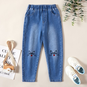1 pc Kid Girl Cotton Casual Animal & Cat Jeans