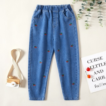 1pc Kid Girl casual Cherry Jeans