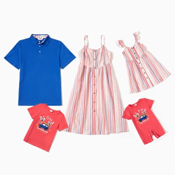 Mosaic Family Matching Cotton Sets(Stripe Tank Dresses - Solid Short-sleeve Tops - Letter Cartoon Car Print Rompers)
