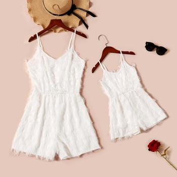 Feather Solid White Sling Rompers for Mommy and Me