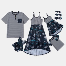 Mosaic Family Matching Cotton Sets(Coconut Tree Splice Stripe Tank Dresses - Stripe Tops - Rompers)