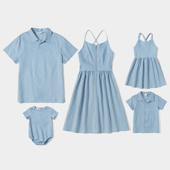 Solid Light Blue Denim Series Sets(Sling Dresses - Button Front Shirts - Rompers)