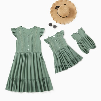 Solid Green Ruffle Sleeve 100% Cotton Dresses for Mommy and Me