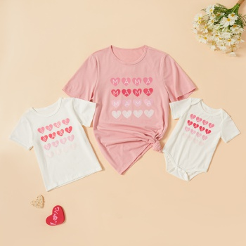 Love Print Pink and White Series Cotton T-shirts for Mommy and Me