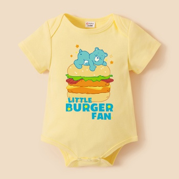 Care Bears Baby Boy Little Burger Fan 100% Cotton Romper