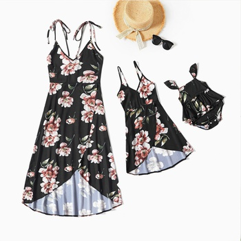 Floral Print Sling Dress for Mommy and Me