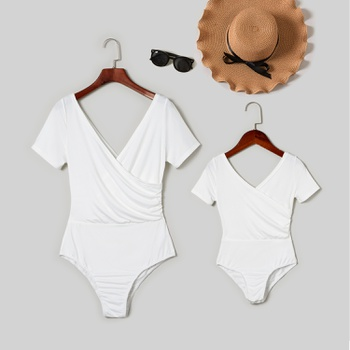 Cross V-neck Short-sleeve Rompers for Mommy and Me